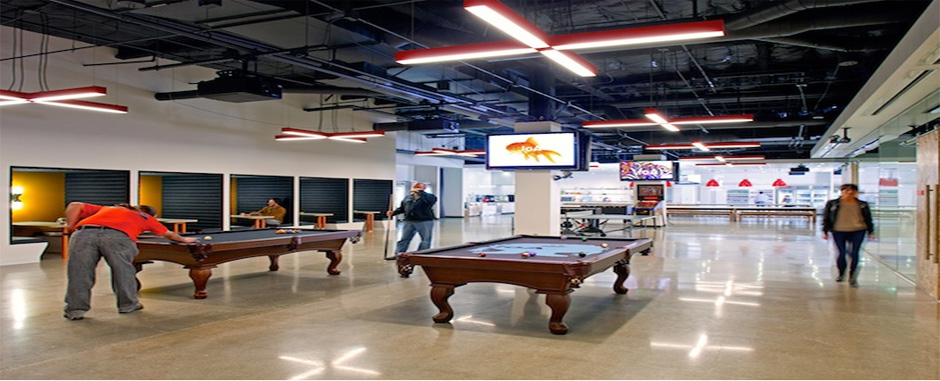 Most popular games for the corporate game rooms are billiard tables, foosball, ping pong and other interactive arcade games.