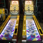 Skeeball games customized for a corporate event.