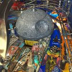 Detail of Death Star in Star Wars pinball machine