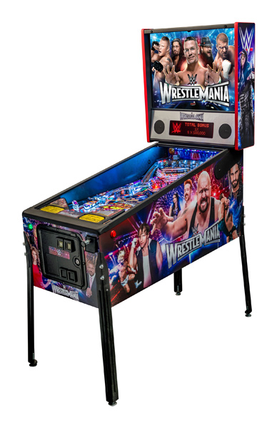 WWE Wrestlemania is the first pinball machine to feature new SPIKETM electronics hardware system.