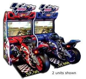 MotoGP motorcycle racing simulator is available for rent from Video Amusement.