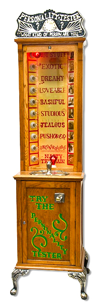 Personality tester carnival machine is available from Video Amusement