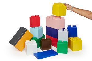 Giant Lego Blocks come in 3 sizes and 12 colors
