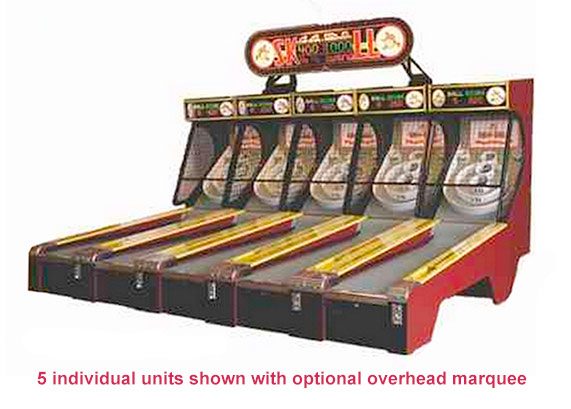Classic Skeeball Machines rented with overhead custom sign from Video Amusement