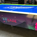 Custom branded Air Hockey table for a corporate promotional event San Jose Convention Center