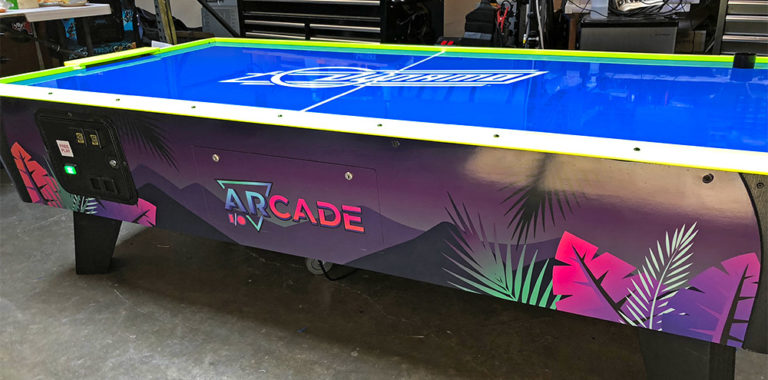 Custom-branded-Air-Hockey-table-for-a-corporate-promotional-event-San-Jose-Convention-Center