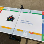 Custom branded ping pong table for Google rental event by Video Amusement