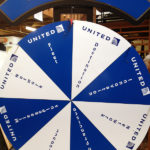 Prize wheel customized for United Airlines Rental Event from Video Amusement