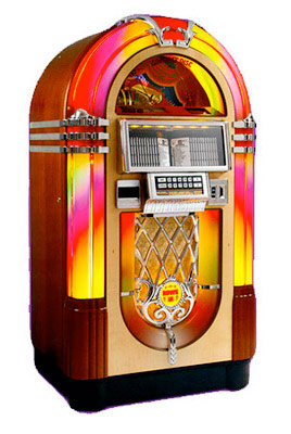 Wurlitzer 1015 Nostalgia Rockola bubbler jukebox CD rental from Video Amusement