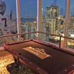Custom billiard table setup for the super Bowl Lounge on 46th floor at Hilton SF.