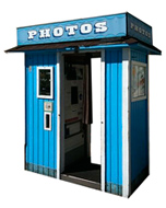 Image of the original Model 14 photo booth from San Jose Flea market before restoration
