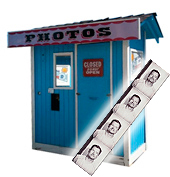 Original image of the photo booth from San Jose Fleamarket before restoration