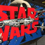 Detail of the cabinet artwork on Star Wars pinball.
