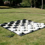 Giant Checker set up picnic at Golden Gate Park Video Amusement San Francisco