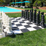 Giant Chess rental setup for event at Filoli Woodside Bay Area from Video Amusement