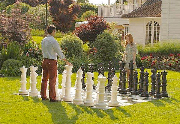 Giant Mega Chess lawn game available for rent San Francisco Bay Area from Video Amusement