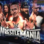 Detail image of the WWE WrestleMania pinball back glass.