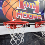 1 on 1 hoops electronic basketball back board detail for rental San Jose California