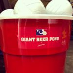 Giant Beer Pong with custom branding rental from Video Amusement