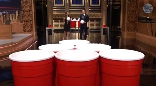 Picture Of Jimmy Fallon Playing Giant Beer Pond