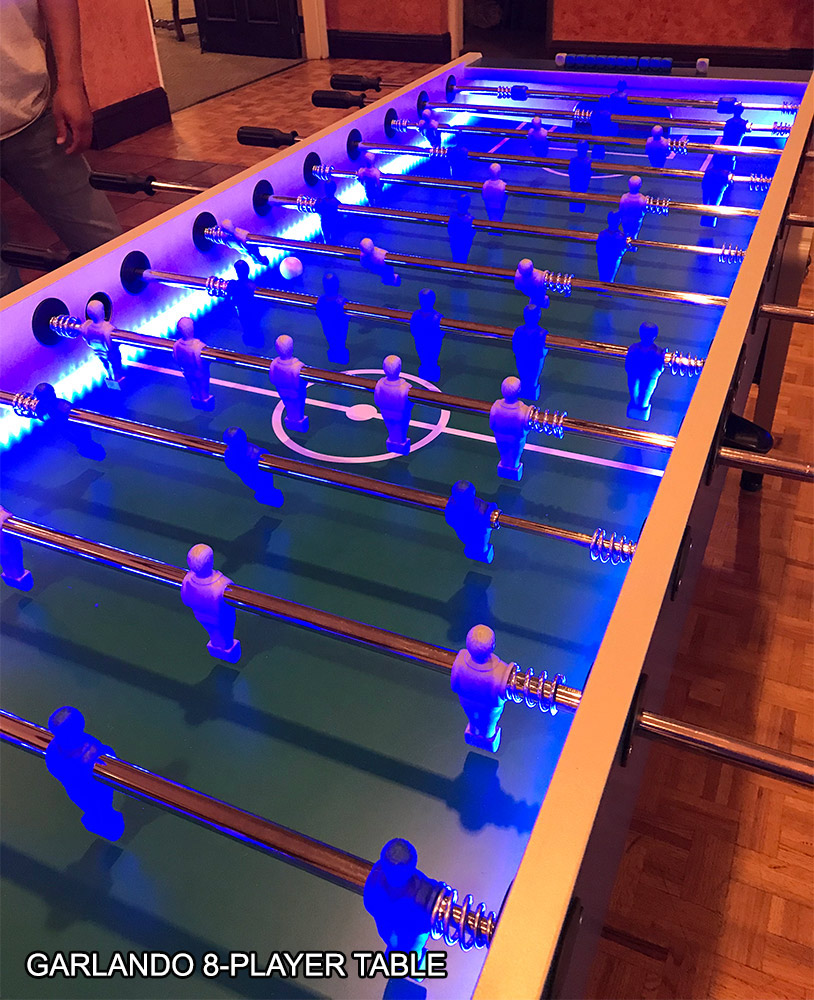 Jumbo 8 player LED lighted foosball table for Rent Garlando