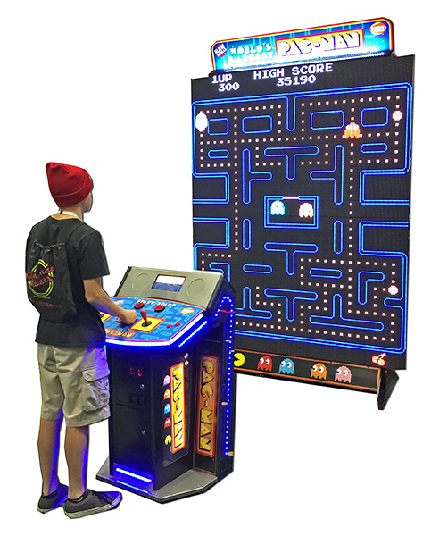 Giant Pac Man & Galaga NAMCO is introducing the world's largest Pac Man game -Giant Pac Man Galaga