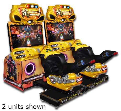 Super Bikes arcade is available for rent from Video Amusement