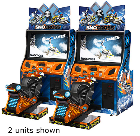 Snow Cross snowmobile arcade simulator available for rent from Video Amusement