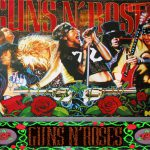 Back glass detail of Guns N Roses pinball