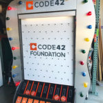 Giant Plinko Carnival Game Branded for Code42 event Rental provided by Video Amusement
