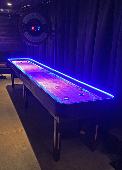 Led lighted Shuffleboard can played even in total darkness