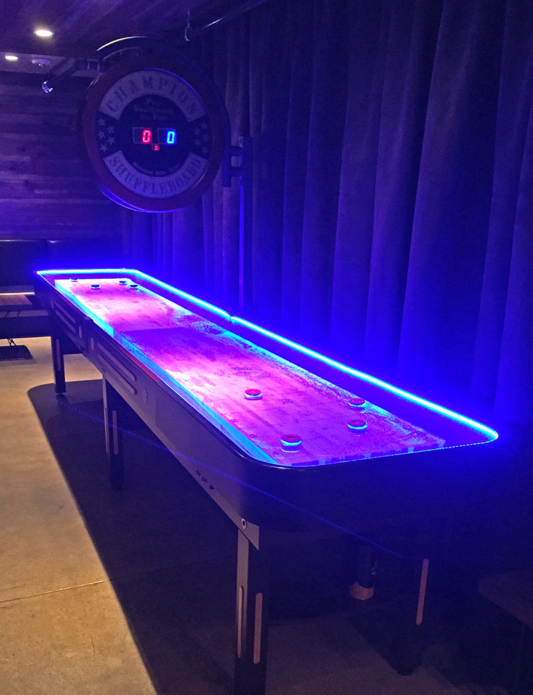 Shuffleboard with LED light