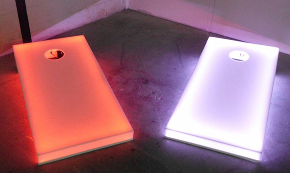 LED Corn Hole Baggo game have multi colored adjustable lights