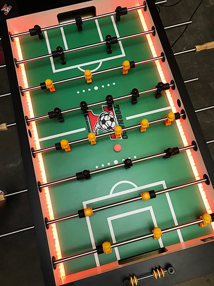 LED Valley Tornado foosball tables available for rent from Video Amusement.