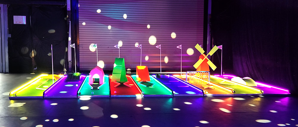 Colorful LED Mini Golf Game rental Las Vegas from Video Amusement