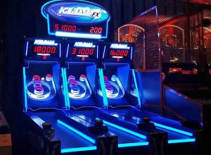 LED illuminated skeeball lanes