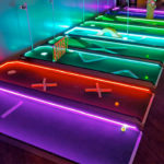 LED 9 Hole Mini golf game set up for rental Moscone San Francisco Video Amusement