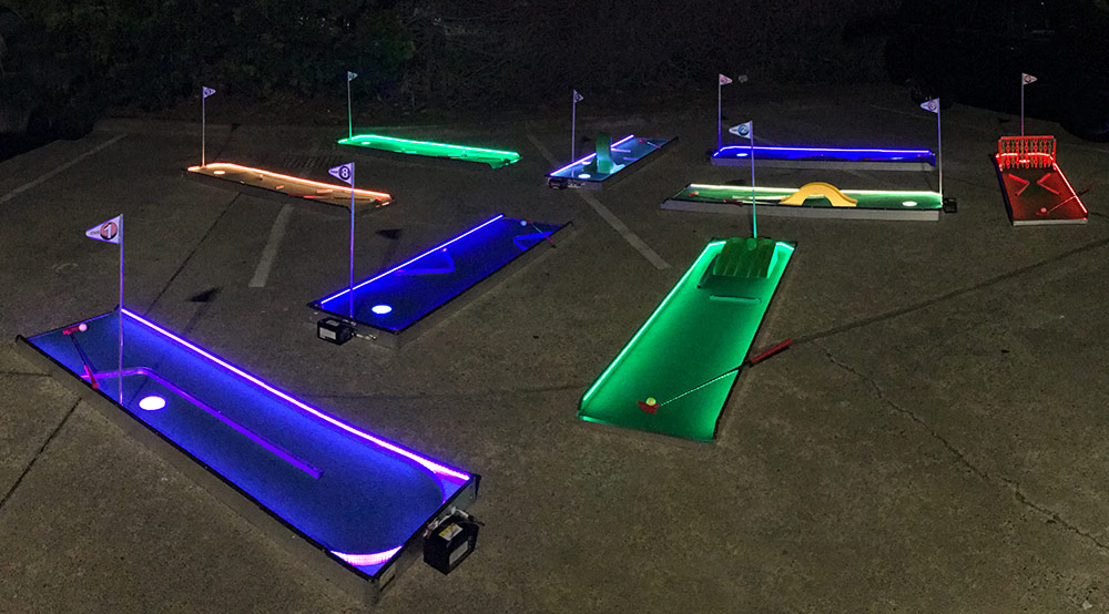 LED 9 hole mini golf set up