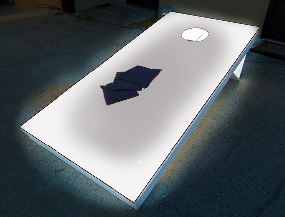 Giant LED corn hole bean bag toss game rental from Video Amusement