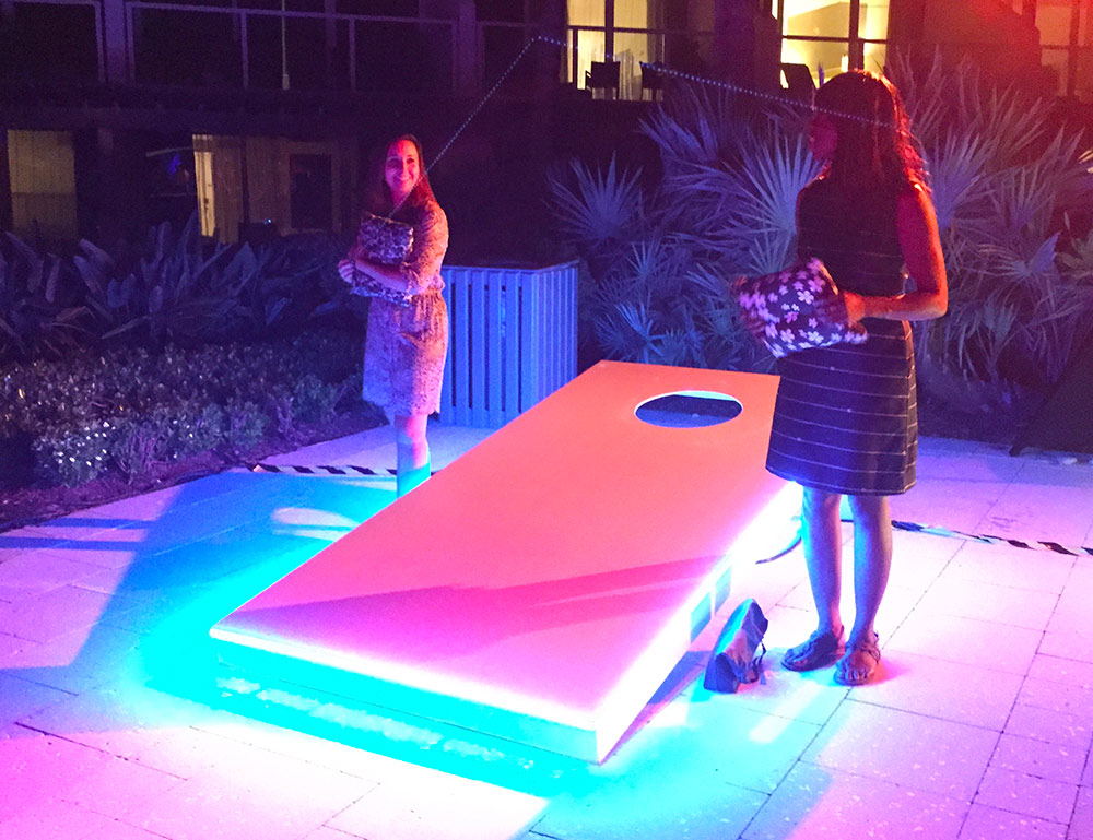 Giant Led Corn Hole Bean Bag Toss Game Video Amusement