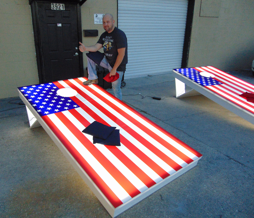 Corn Hole On Steroids Introducing Giant Led Bean Bag Toss From Video Amut The Is 8 X4 Lighted Board Set That Comes With