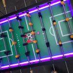 LED Tornado Foosball Game Colorful Changing Lights Rental from Video Amusement