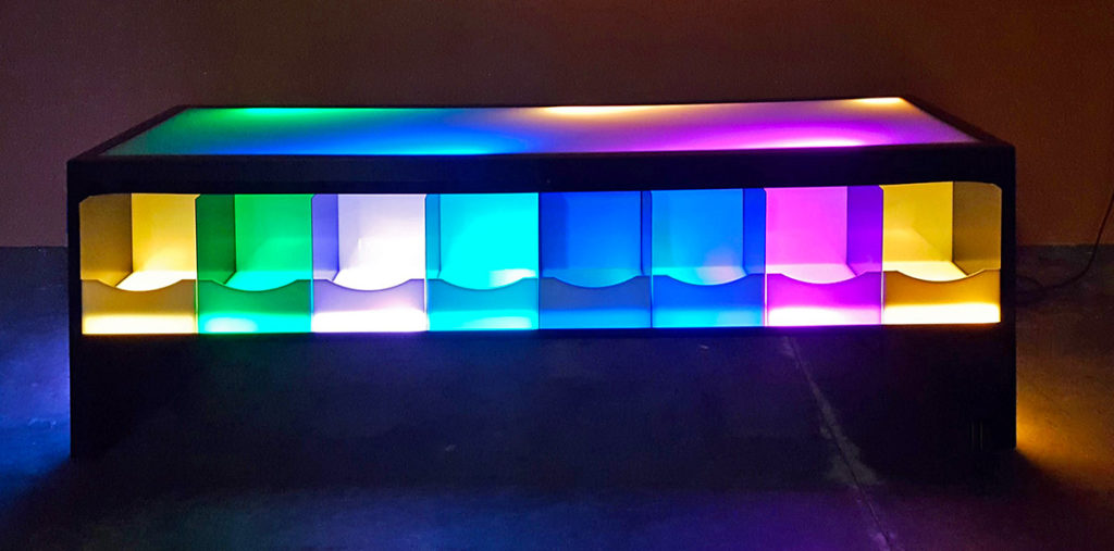 This Beautiful LED Lighted Table For Rent With Light Up Panels Is Designed  As The Ultimate Gaming Or Storage Table. The Shelves Underside The Tabletop  Are ...