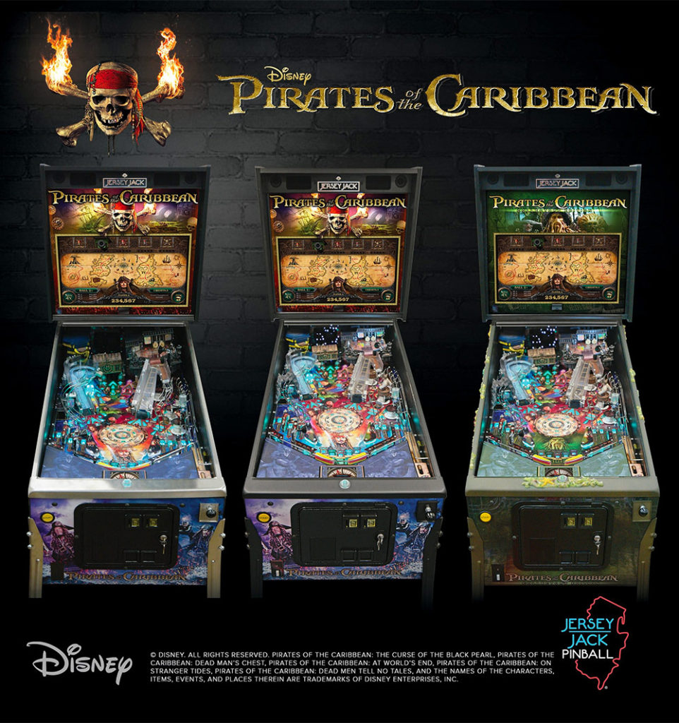 Pirates of the Caribbean complete pinball lineup from Jersey Jack Pinball. to be release in spring 2018.