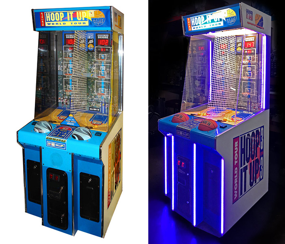 Comparing classic old look and new updated game with LED lights.