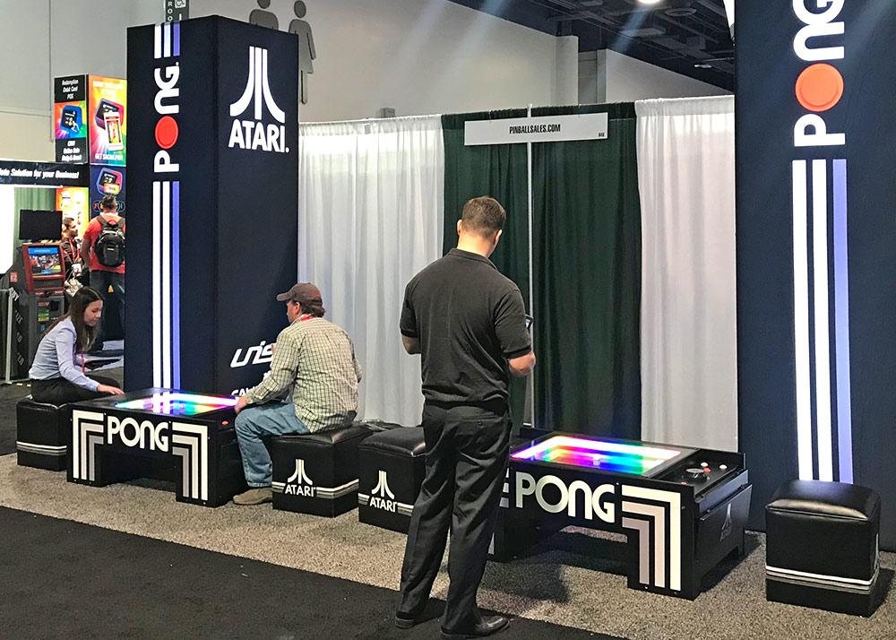 PONG ATARI Table on display at Amusement EXPO