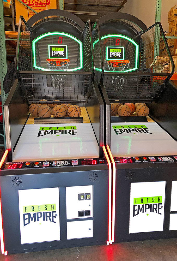 NBA Game Time basketball arcade game with custom branding for a trade show in Los Angeles from Video Amusement.