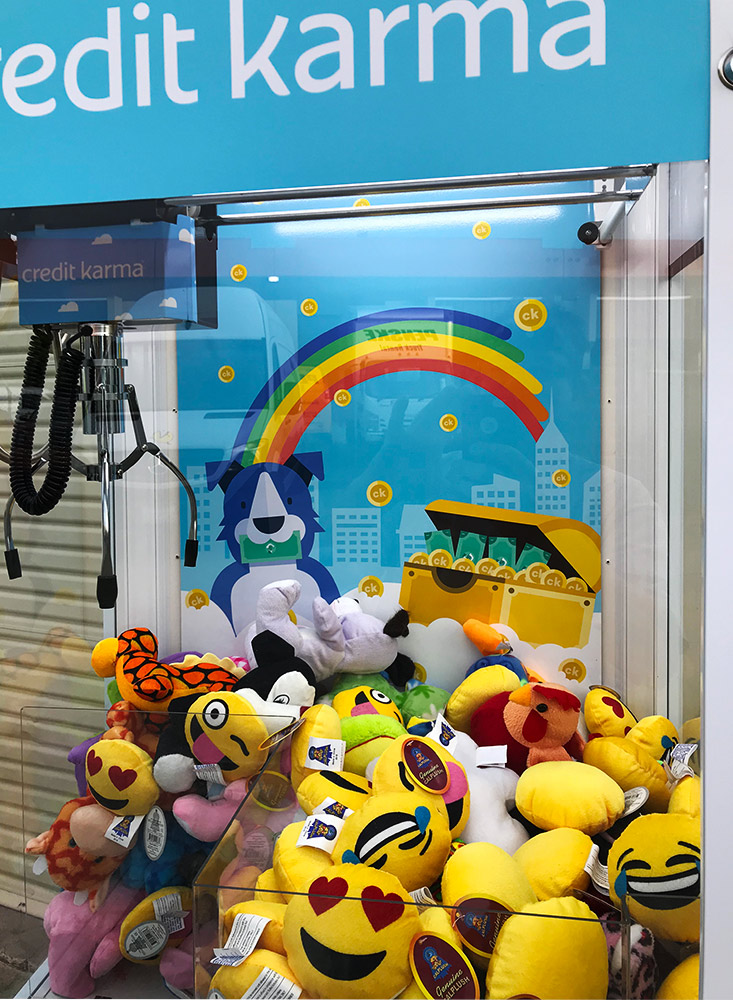 Detail of custom branded crane game