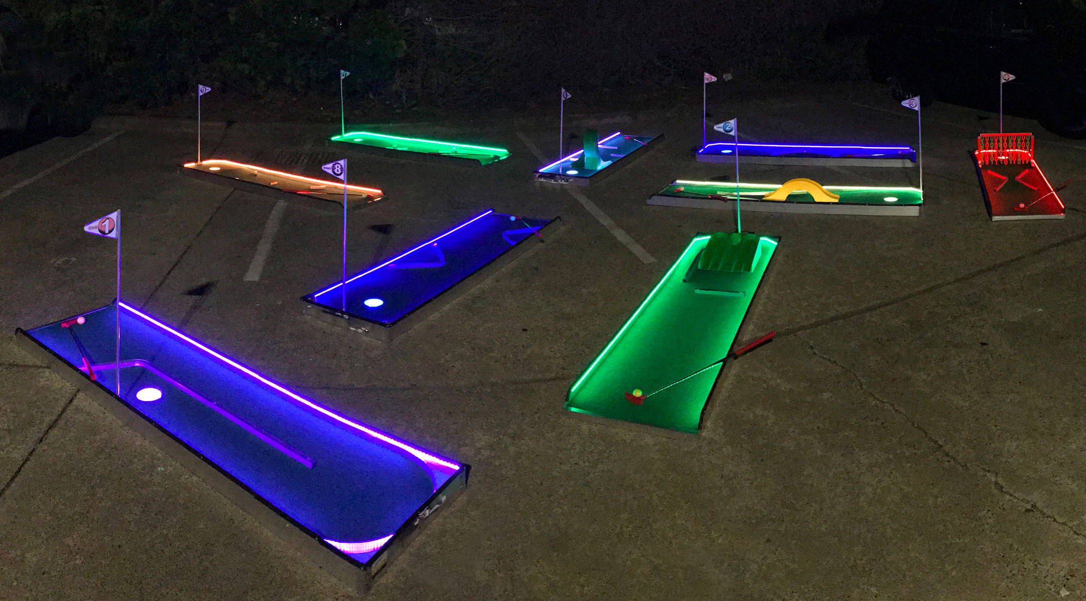 LED Mini golf set up for a demonstration