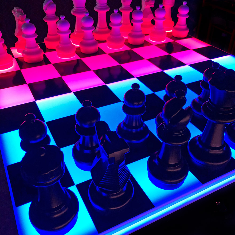 Giant LED Chess and checkers game Table rental from Video Amusement